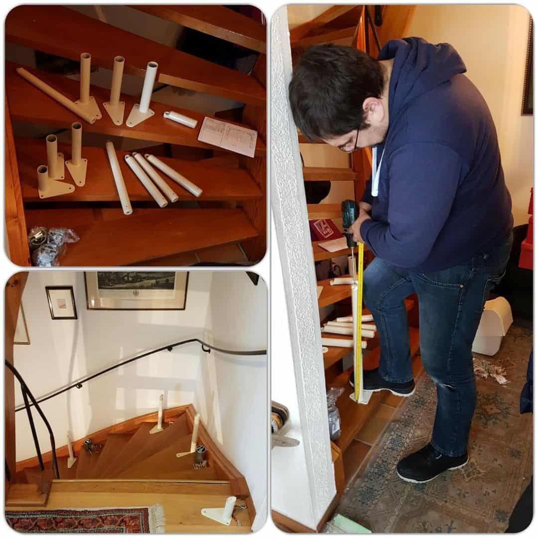 Treppenlift Vorbereiten der Stützen