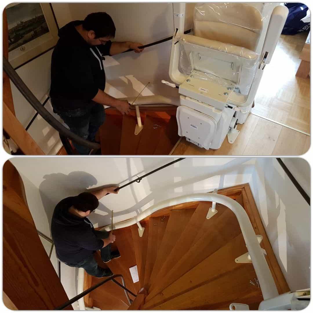 Treppenlift Einmessen der Schiene