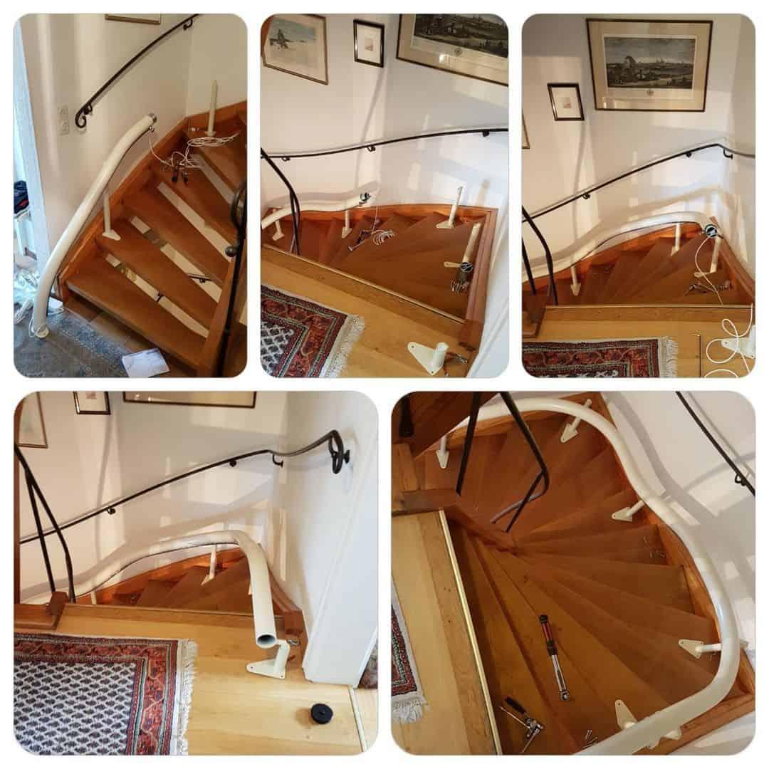 Treppenlift Aufstellen der Schiene